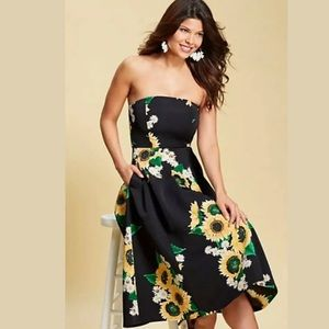 NWT Eva Mendes NY & Co Sunflower Dress Floral L